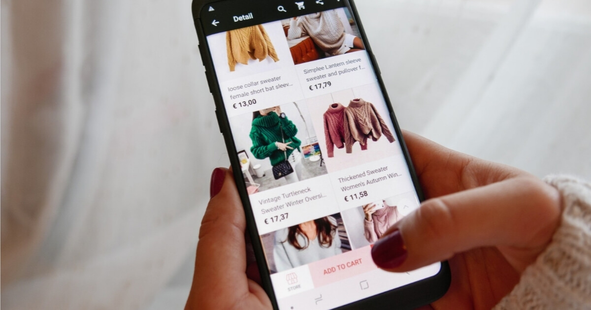 Woman doing online shopping on phone