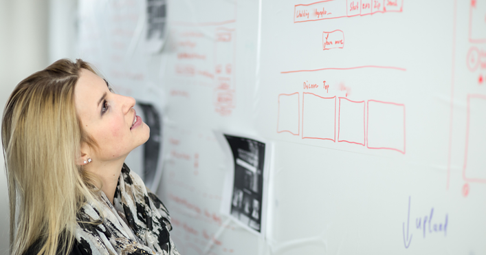 A woman working on a whiteboard.