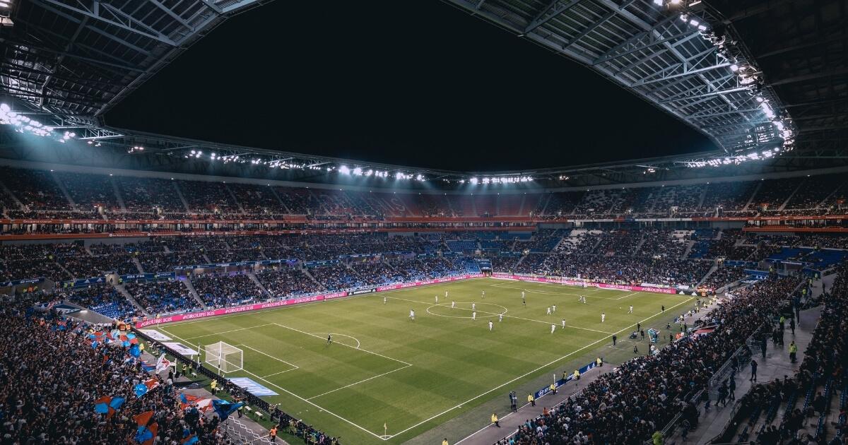 Open air football stadium